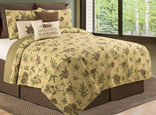 CF Home Woodland Retreat Pinecone Twin Quilt Set With 1 Sham Reversible Cotton Bedspread Coverlet Rustic Lodge Brown Twin 2 Piece Set Tan 0 4