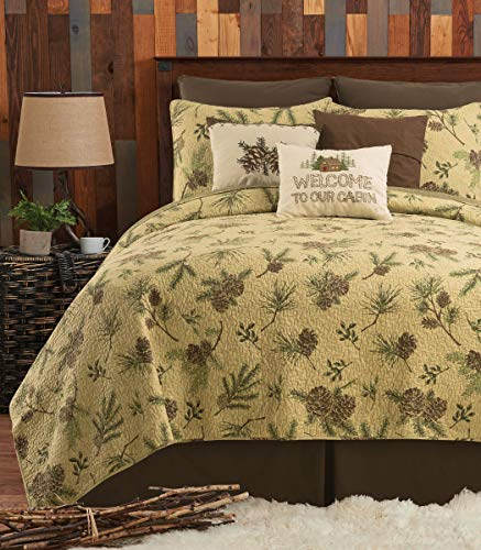 CF Home Woodland Retreat Pinecone Twin Quilt Set With 1 Sham Reversible Cotton Bedspread Coverlet Rustic Lodge Brown Twin 2 Piece Set Tan 0