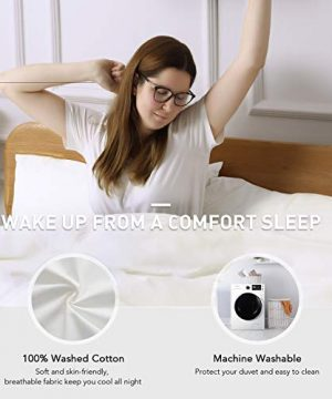 CO Z 100 Washed Cotton Duvet Cover 2 Pieces Bedding Sets Solid Color Ivory White TwinTwin XL Size 68x90 Inches Modern Simple Style Ultra Soft Breathable Comforter Cover With Zipper Closure 0 0 300x360