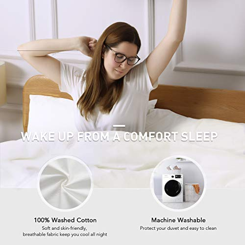 CO Z 100 Washed Cotton Duvet Cover 2 Pieces Bedding Sets Solid Color Ivory White TwinTwin XL Size 68x90 Inches Modern Simple Style Ultra Soft Breathable Comforter Cover With Zipper Closure 0 0