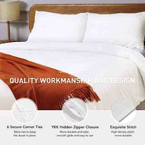 CO Z 100 Washed Cotton Duvet Cover 2 Pieces Bedding Sets Solid Color Ivory White TwinTwin XL Size 68x90 Inches Modern Simple Style Ultra Soft Breathable Comforter Cover With Zipper Closure 0 1