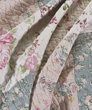 Chezmoi Collection Jolie 2 Piece Garden Floral Vintage Washed 100 Cotton Reversible Diamond Patchwork Quilt Set Twin 0 300x360