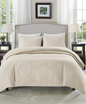 Comfort Spaces Kienna Quilt Coverlet Bedspread Ultra Soft Hypoallergenic All Season Lightweight Filling Stitched Bedding Set FullQueen 90x90 Ivory 3 Piece 0 0 300x360