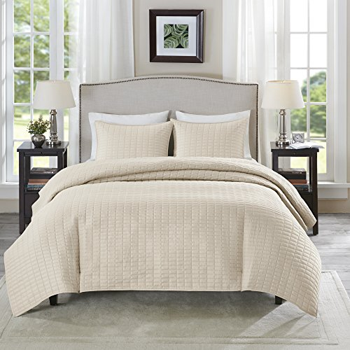 Comfort Spaces Kienna Quilt Coverlet Bedspread Ultra Soft Hypoallergenic All Season Lightweight Filling Stitched Bedding Set FullQueen 90x90 Ivory 3 Piece 0 0