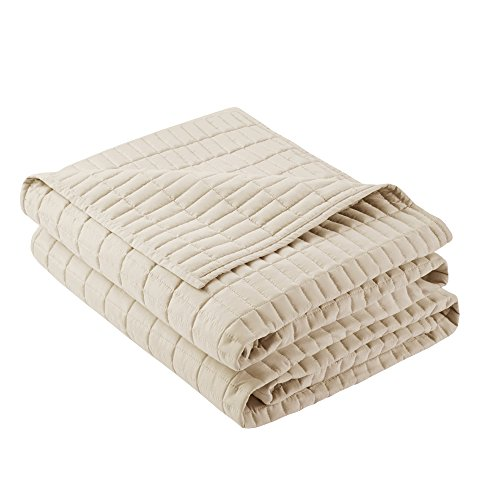 Comfort Spaces Kienna Quilt Coverlet Bedspread Ultra Soft Hypoallergenic All Season Lightweight Filling Stitched Bedding Set FullQueen 90x90 Ivory 3 Piece 0 1