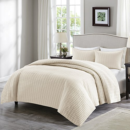 Comfort Spaces Kienna Quilt Coverlet Bedspread Ultra Soft Hypoallergenic All Season Lightweight Filling Stitched Bedding Set FullQueen 90x90 Ivory 3 Piece 0