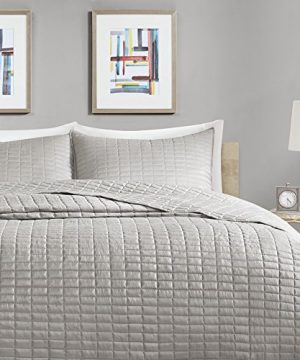 Comfort Spaces Kienna Quilt Coverlet Bedspread Ultra Soft Hypoallergenic All Season Lightweight Filling Stitched Bedding Set Oversized King 120x118 Gray 3 Piece 0 0 300x360
