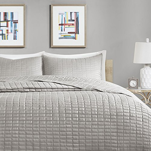 Comfort Spaces Kienna Quilt Coverlet Bedspread Ultra Soft Hypoallergenic All Season Lightweight Filling Stitched Bedding Set Oversized King 120x118 Gray 3 Piece 0 0