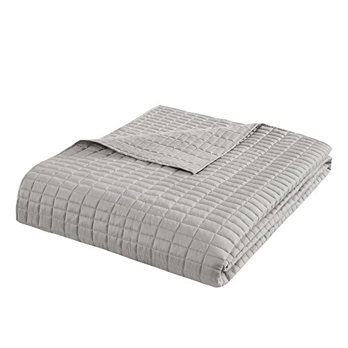 Comfort Spaces Kienna Quilt Coverlet Bedspread Ultra Soft Hypoallergenic All Season Lightweight Filling Stitched Bedding Set Oversized King 120x118 Gray 3 Piece 0 2