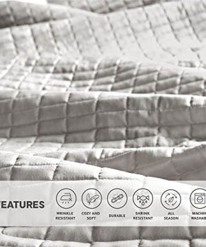 Comfort Spaces Kienna Quilt Coverlet Bedspread Ultra Soft Hypoallergenic All Season Lightweight Filling Stitched Bedding Set Oversized King 120x118 Gray 3 Piece 0 3 300x360
