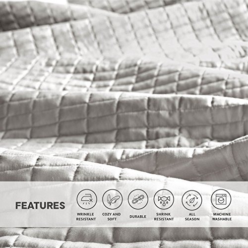 Comfort Spaces Kienna Quilt Coverlet Bedspread Ultra Soft Hypoallergenic All Season Lightweight Filling Stitched Bedding Set Oversized King 120x118 Gray 3 Piece 0 3