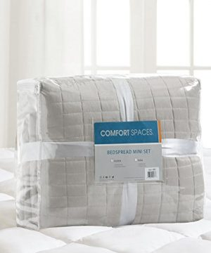 Comfort Spaces Kienna Quilt Coverlet Bedspread Ultra Soft Hypoallergenic All Season Lightweight Filling Stitched Bedding Set Oversized King 120x118 Gray 3 Piece 0 4 300x360
