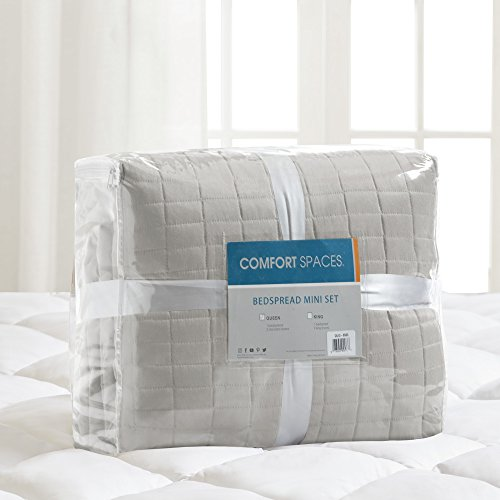 Comfort Spaces Kienna Quilt Coverlet Bedspread Ultra Soft Hypoallergenic All Season Lightweight Filling Stitched Bedding Set Oversized King 120x118 Gray 3 Piece 0 4