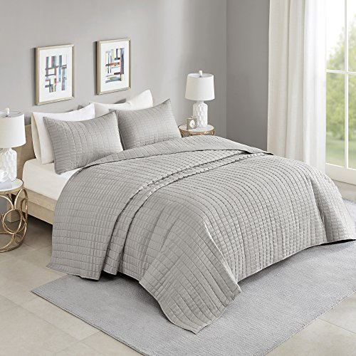 Comfort Spaces Kienna Quilt Coverlet Bedspread Ultra Soft Hypoallergenic All Season Lightweight Filling Stitched Bedding Set Oversized King 120x118 Gray 3 Piece 0