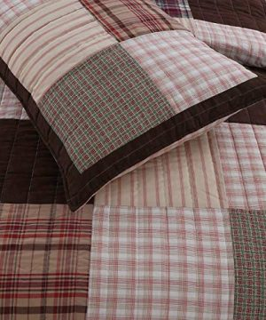 Cozy Line Home Fashions Brody Quilt Bedding Set Chocolate Brown Plaid Grid Striped Real PatchworkReversible Coverlet Bedspread Set For Men Brown Grid King 3 Piece 0 0 300x360