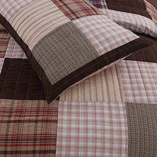 Cozy Line Home Fashions Brody Quilt Bedding Set Chocolate Brown Plaid Grid Striped Real PatchworkReversible Coverlet Bedspread Set For Men Brown Grid King 3 Piece 0 0