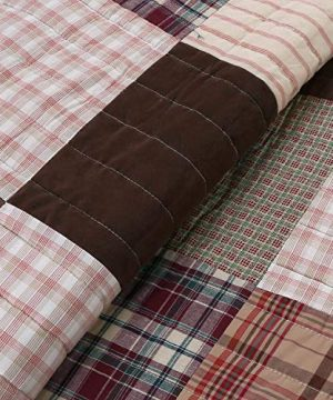 Cozy Line Home Fashions Brody Quilt Bedding Set Chocolate Brown Plaid Grid Striped Real PatchworkReversible Coverlet Bedspread Set For Men Brown Grid King 3 Piece 0 1 300x360