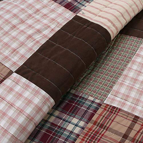 Cozy Line Home Fashions Brody Quilt Bedding Set Chocolate Brown Plaid Grid Striped Real PatchworkReversible Coverlet Bedspread Set For Men Brown Grid King 3 Piece 0 1