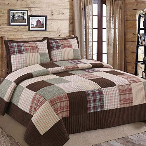 Cozy Line Home Fashions Brody Quilt Bedding Set Chocolate Brown Plaid Grid Striped Real PatchworkReversible Coverlet Bedspread Set For Men Brown Grid King 3 Piece 0
