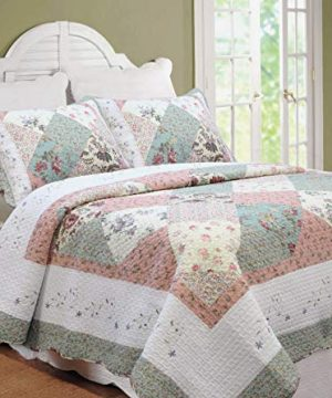 Cozy Line Home Fashions Floral Real Patchwork Tiffany Green Peach Scalloped Edge Country 100 Cotton Quilt Bedding Set Reversible Coverlet Bedspread For Women Celia Twin 2 Piece 0 300x360