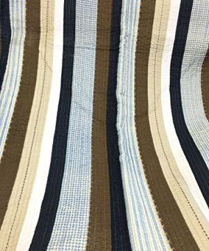 Cozy Line Home Fashions Nathan Quilt Bedding Set NavyBlueWhiteBrown Plaid Striped 100 Cotton Reversible Coverlet Bedspread Set Nathan Stripe Twin 2 Piece 0 0 300x360