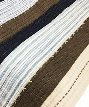 Cozy Line Home Fashions Nathan Quilt Bedding Set NavyBlueWhiteBrown Plaid Striped 100 Cotton Reversible Coverlet Bedspread Set Nathan Stripe Twin 2 Piece 0 3 300x360