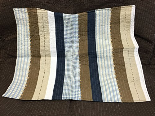 Cozy Line Home Fashions Nathan Quilt Bedding Set NavyBlueWhiteBrown Plaid Striped 100 Cotton Reversible Coverlet Bedspread Set Nathan Stripe Twin 2 Piece 0 4