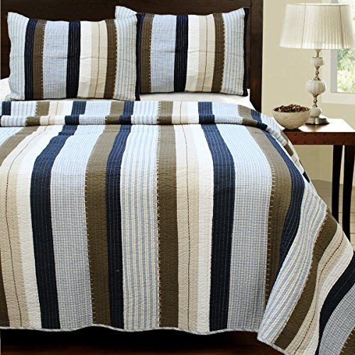Cozy Line Home Fashions Nathan Quilt Bedding Set NavyBlueWhiteBrown Plaid Striped 100 Cotton Reversible Coverlet Bedspread Set Nathan Stripe Twin 2 Piece 0