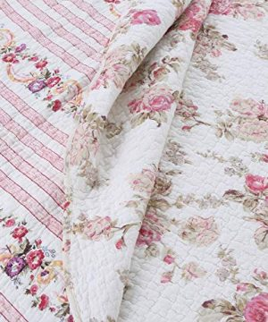 Cozy Line Home Fashions Romantic Pink Peony Flora Cotton Reversible Quilt Bedding Set Coverlet Bedspread Pink Peony King 3 Piece 0 0 300x360