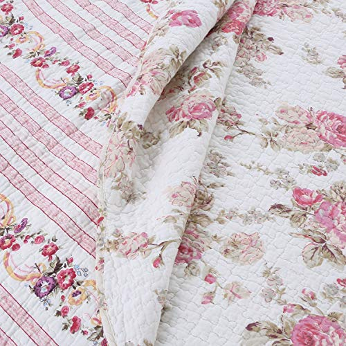 Cozy Line Home Fashions Romantic Pink Peony Flora Cotton Reversible Quilt Bedding Set Coverlet Bedspread Pink Peony King 3 Piece 0 0