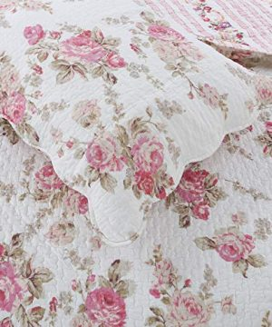 Cozy Line Home Fashions Romantic Pink Peony Flora Cotton Reversible Quilt Bedding Set Coverlet Bedspread Pink Peony King 3 Piece 0 1 300x360