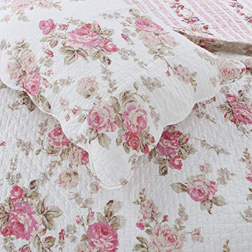 Cozy Line Home Fashions Romantic Pink Peony Flora Cotton Reversible Quilt Bedding Set Coverlet Bedspread Pink Peony King 3 Piece 0 1