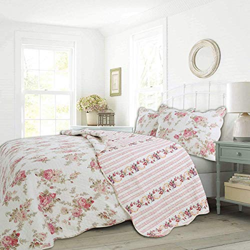 Cozy Line Home Fashions Romantic Pink Peony Flora Cotton Reversible Quilt Bedding Set Coverlet Bedspread Pink Peony King 3 Piece 0