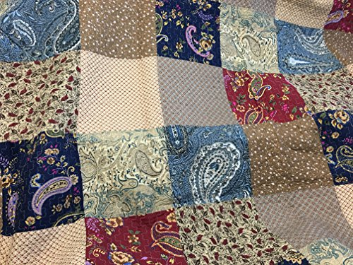 Cozy Line Home Fashions Sanders Red Navy Blue Brown Floral Print Real Patchwork 100 Cotton Reversible Coverlet Bedspread Quilt Bedding Set For Women RedNavy King 3 Piece 0 0