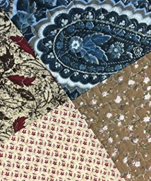 Cozy Line Home Fashions Sanders Red Navy Blue Brown Floral Print Real Patchwork 100 Cotton Reversible Coverlet Bedspread Quilt Bedding Set For Women RedNavy King 3 Piece 0 1 300x360