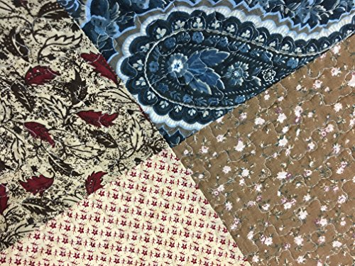 Cozy Line Home Fashions Sanders Red Navy Blue Brown Floral Print Real Patchwork 100 Cotton Reversible Coverlet Bedspread Quilt Bedding Set For Women RedNavy King 3 Piece 0 1