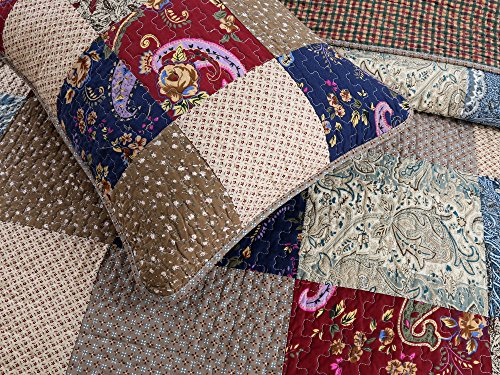 Cozy Line Home Fashions Sanders Red Navy Blue Brown Floral Print Real Patchwork 100 Cotton Reversible Coverlet Bedspread Quilt Bedding Set For Women RedNavy King 3 Piece 0 2