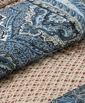 Cozy Line Home Fashions Sanders Red Navy Blue Brown Floral Print Real Patchwork 100 Cotton Reversible Coverlet Bedspread Quilt Bedding Set For Women RedNavy King 3 Piece 0 5 300x360