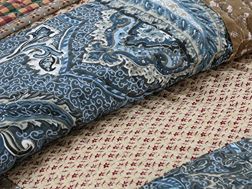 Cozy Line Home Fashions Sanders Red Navy Blue Brown Floral Print Real Patchwork 100 Cotton Reversible Coverlet Bedspread Quilt Bedding Set For Women RedNavy King 3 Piece 0 5