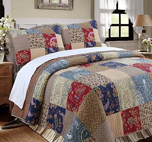 Cozy Line Home Fashions Sanders Red Navy Blue Brown Floral Print Real Patchwork 100 Cotton Reversible Coverlet Bedspread Quilt Bedding Set For Women RedNavy King 3 Piece 0