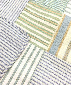 Cozy Line Home Fashions Sienna Green Yellow Blue Plaid Striped Patchwork 100 Cotton Reversible Coverlet Bedspread Quilt Bedding Set For Women MenGreen Patchwork Twin 2 Piece 0 0 300x360