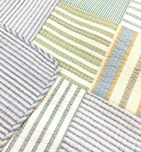 Cozy Line Home Fashions Sienna Green Yellow Blue Plaid Striped Patchwork 100 Cotton Reversible Coverlet Bedspread Quilt Bedding Set For Women MenGreen Patchwork Twin 2 Piece 0 0