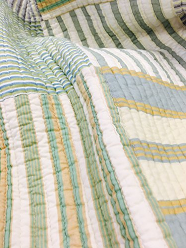 Cozy Line Home Fashions Sienna Green Yellow Blue Plaid Striped Patchwork 100 Cotton Reversible Coverlet Bedspread Quilt Bedding Set For Women MenGreen Patchwork Twin 2 Piece 0 1