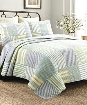 Cozy Line Home Fashions Sienna Green Yellow Blue Plaid Striped Patchwork 100 Cotton Reversible Coverlet Bedspread Quilt Bedding Set For Women MenGreen Patchwork Twin 2 Piece 0 300x360