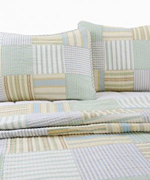 Cozy Line Home Fashions Sienna Green Yellow Blue Plaid Striped Patchwork 100 Cotton Reversible Coverlet Bedspread Quilt Bedding Set For Women MenGreen Patchwork Twin 2 Piece 0 4 300x360