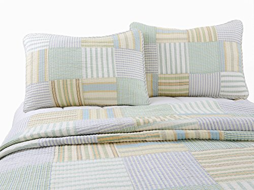 Cozy Line Home Fashions Sienna Green Yellow Blue Plaid Striped Patchwork 100 Cotton Reversible Coverlet Bedspread Quilt Bedding Set For Women MenGreen Patchwork Twin 2 Piece 0 4