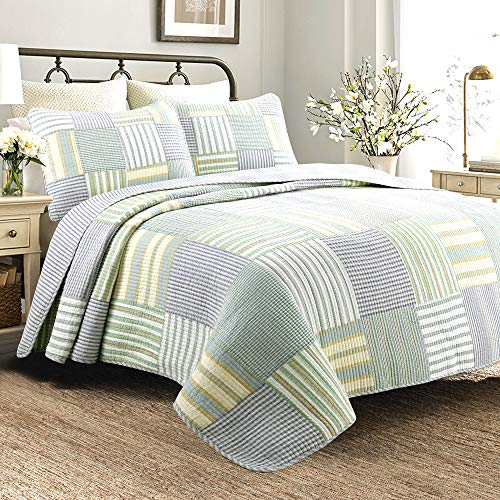 Cozy Line Home Fashions Sienna Green Yellow Blue Plaid Striped Patchwork 100 Cotton Reversible Coverlet Bedspread Quilt Bedding Set For Women MenGreen Patchwork Twin 2 Piece 0