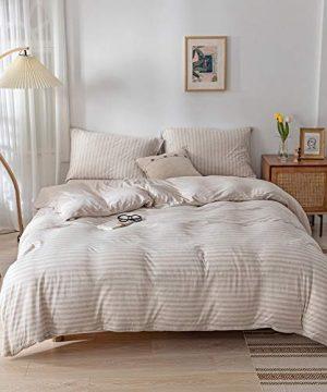 DONEUS Jersey Knit Cotton Striped Duvet Cover Set Ultra Soft 3 Piece Bedding Set Full Duvet Cover With Pillow Shams Light Brown Queen Size 0 300x360