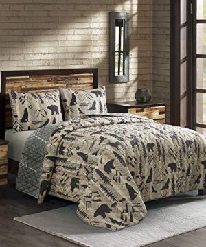 Donna Sharp Twin Bedding Set 2 Piece Forest Weave Lodge Quilt Set With Twin Quilt And One Standard Pillow Sham Machine Washable 0 300x360