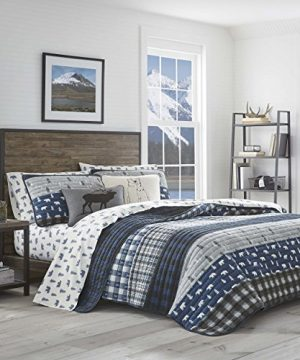 Eddie Bauer Blue Creek Collection 100 Cotton Light Weight Quilt Bedspread Matching Sham 2 Piece Bedding Set Pre Washed For Extra Comfort Twin Navy 0 300x360